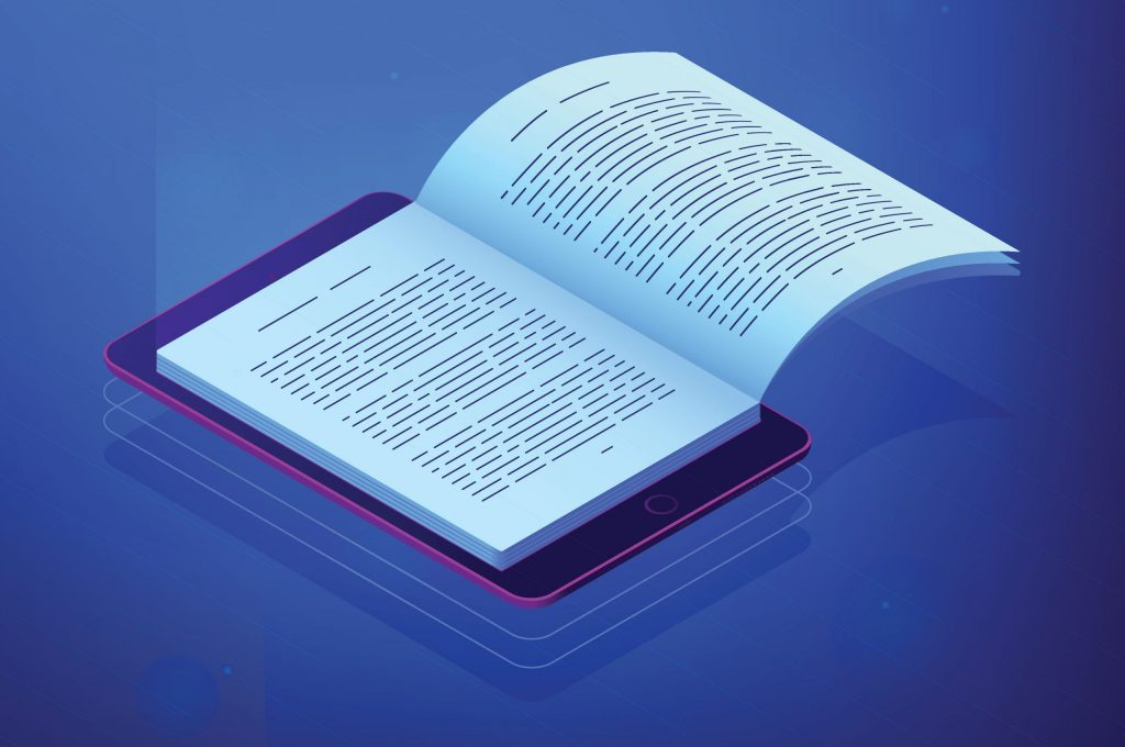 Open ebook on digital tablet screen for modern education and e-l